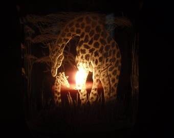 Giraffe Carving,  Safari Art, Giraffe Art, African Art, Hand Carved Glass, Glass Wedding Gift, Home Decore, Animal Decore, Baby Giraffe Dec.