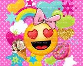 Emoji Smiley Heart Eyes Knit Panel - Regular / child size & doll size