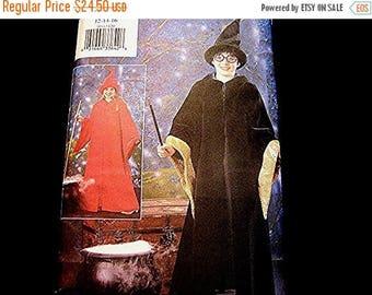 on SALE 25% Off Harry Potter Costume Pattern UNCUT Wizard size 12 14 16 Girls Boys Harry Potter Pattern Robe Gown Hat