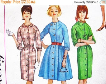 on SALE 25% Off 1960s Dress Pattern Misses size 12 Ladies Shirt Dress Pattern with Full Skirt or Slim Skirt Vintage Sewing Pattern for Women