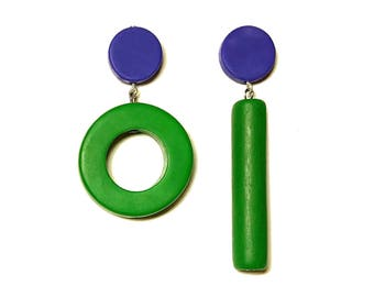green and blue earrings, asymmetrical jewelry,  bold statement , hypoallergenic earrings, handmade by Frank Ideas