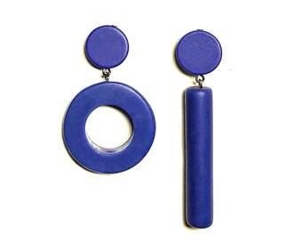 bold blue earrings,  modern asymmetrical binary code design, geek jewelry by Frank Ideas