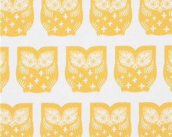 218741 off-white canvas fabric with mustard yellow owl