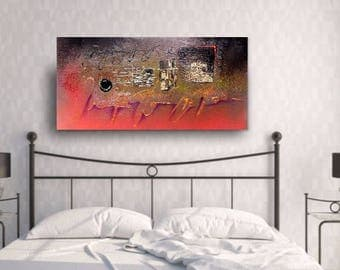 """Abstract Textured Painting...""""Answers"""" Modern Acrylic Painting...Copper Leaf Accent Textured Art..Original Acrylic Abstract..Home Unique Art"""
