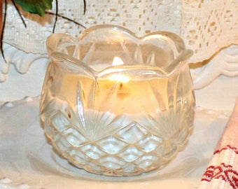 Vintage Glass Condiment Bowl Soy Wax Candle,YOUR SCENT CHOICE,Homemade,Hand Poured,Pressed Glass,Hostess Gift,Birthday,Bridal
