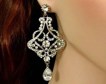 Art Deco Bridal Earrings, Statement Wedding Earrings, Victorian Wedding Jewelry, Chandelier Earrings, Cz Drop Bridal Jewelry, CARMEN