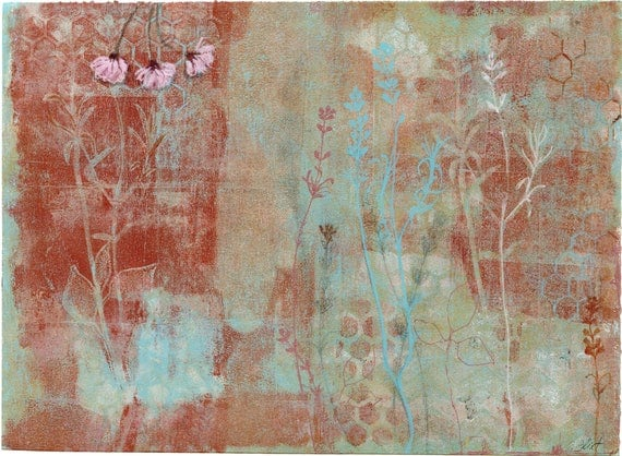 Willow blossom IV- original mixed media on paper by Ingrid Blixt