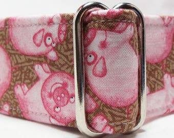 Pink Pigs on Brown Greyhound, Whippet, Galgo, Pit Bull, Dog, Sighthound Martingale Collar