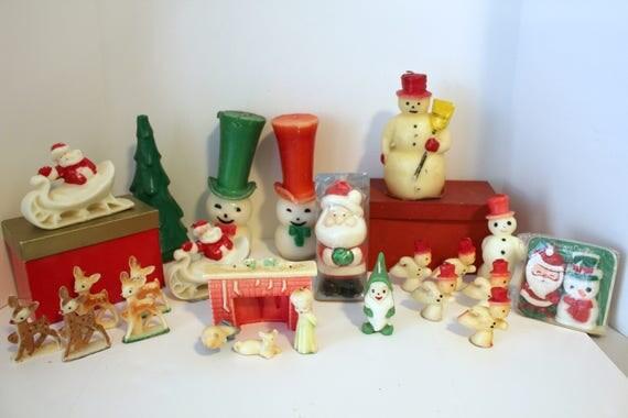 25 Vintage Christmas Gurley Suni Tavern Candles, Santa Sleigh, Reindeer, Snowman, Tree and More