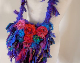 recycled silk  ribbon boho chic tattered little shoulder bag in purples blues