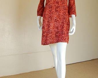 SALE 25% off sundays India Sari Dress Vintage Burgundy Graphic Floral Ethnic India Boho Sari Tunic Dress (s)