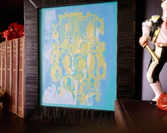 CAMEOS #081   original art silkscreen printed by hand in soft blue and light gold (8x10)
