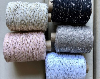 Glittered (gold) cotton cord in 2 mm - 50 m White, Black, grey, ivory, pink