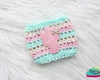 Pink Crochet Cup Sleeve { Glitter Cactus } pastel, mint, cream gold crochet, mug sweater, starbucks, succulents