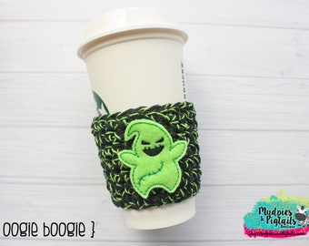 Oogie Boogie Halloween Coffee Cup Cozy, scary, black green, not so scary party accessories, crochet gift, mug sweater water bottle, crochet