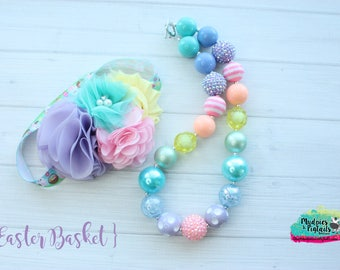 Spring necklace or baby headband { Easter basket } pastel, rainbow Pink, first birthday cake smash photography prop