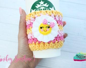 Spring Crochet Coffee Sleeve { Smiley Sunshine } kawaii sun, pink yellow spring cup cozy, knit mug sweater, coffee mug, frappuccino holder