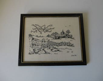 VINTAGE 1978 framed with glass EMBROIDERY of barns and farm landscape - farmhouse country decor