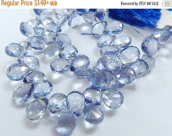 SALE Mystic Blue Quartz Gemstone. Semi Precious Gemstone. Faceted Pear Briolette, 7-8mm. Non Matching, 1 to 9 Briolettes  (fqz)