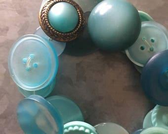 Vintage Aqua Blue Button Bracelet