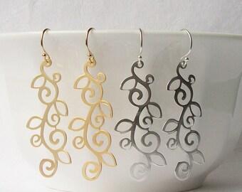 Scroll Earrings, Silver Scroll Earrings, Gold Scroll Earrings