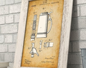 Beer Stein - 11x14 Unframed Patent Print - Great Gift for beer Lovers, Home Brewers, Home Bar or Man Cave Decor