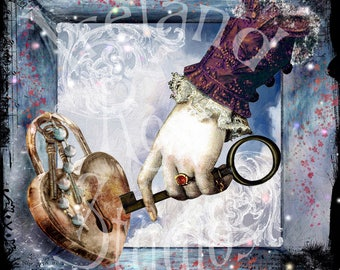 The Key to Ones Heart ~ Altered art/Mixed Media Greeting Card