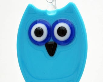 Glassworks Northwest - Light Blue Owl - Fused Glass Ornament
