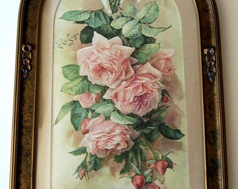 Roses, Print, Paul de Longpre, Barbola, Antique Frame, Convex Glass, Art, Print, Shabby Chic, Vintage, Half Yard Long