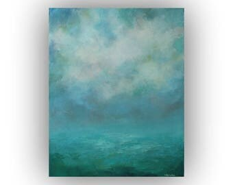 Green and Blue Abstract Landscape- 16 x 20 Field Sky and Clouds Oil Painting- Original Palette Knife Art on Canvas