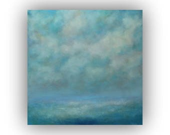Oil Painting on Canvas- Original Ocean Sky and Clouds Painting- Large 36 x 36 Blue Abstract Seascape- Palette Knife Art