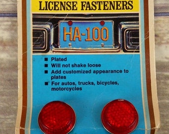 License Plate Fasteners Tag Safety Reflector NOS Bicycles Cars Motorcycles Vintage