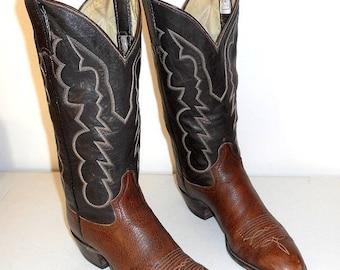 Brown Cowboy Boots 11 B Mens Shoes Adams Boot Company Western Rockabilly Narrow