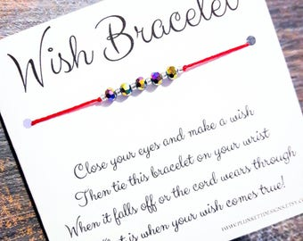 Wish Bracelet - Available In Over 100 Different Colors!!!  (Rainbow Shimmer Crystals)