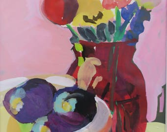 white mat and life, floral painting, watercolor and gouache painting, ruby red vase with zinnia flowers, purple plums, yellow bowl, mat