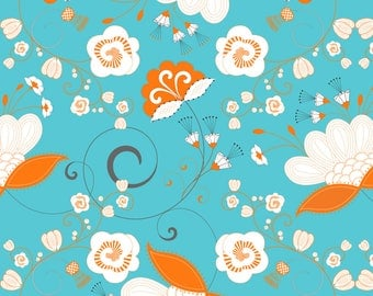 Blue + Orange Whimsical Floral Fabric - Flower Swirl Orange White Grey Blue By Pattern Garden - Cotton Fabric By The Yard With Spoonflower