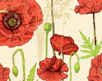 Red Poppies Fabric - Poppy By Veraholera - Red Poppy Modern Home Decor Cotton Fabric By The Yard With Spoonflower