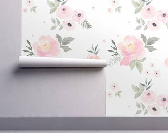 Floral Nursery Wallpaper - Sweet Blush Roses by Shop Cabin - Original Custom Printed Removable Self Adhesive Wallpaper Roll by Spoonflower