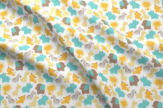 Nursery Zoo Animal Fabric Baby Safari By Lizmytinger