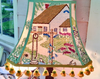 """Cottage Rectangle Lamp Shade, Vintage Crewel Lampshade, 8""""t  x 16"""" bottom x 12"""" high on slant, Vintage tassels, Folk Art Style, Country Look"""
