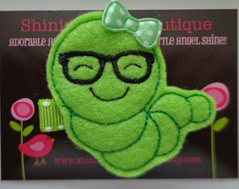 Felt Hair Clips - Girls Hair Accessories - Lime Green Back To School Book Worm With Glasses Embroidered Felt Hair Clippie