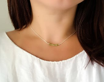 Peridot Choker - Peridot Row Sterling Silver Choker Necklace - August Birthstone Choker Necklace - Heart Chakra Stone Necklace