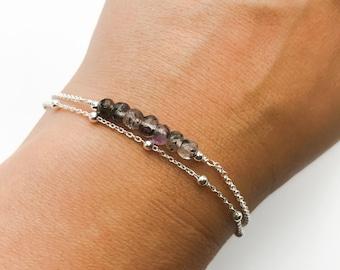 Super Seven Melody Stone Bracelet - Double Chain Sterling Silver Bracelet - Satellite chain bracelet