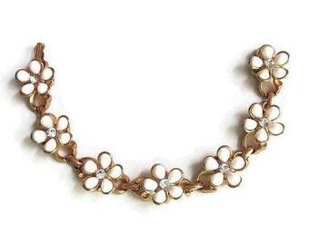 White Plastic Flower & Rhinestones Bracelet Vintage Mid-Century