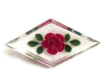SALE Reverse Carved Lucite Rose Brooch Vintage