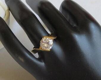 SALE Clear CZ Cubic Zirconia Engagement Ring Vintage Modernist Size 6.5