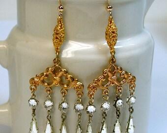 Vintage Rhinestones Bead Chandelier Ornate Deco Gold Dangles Earrings - GIFT WRAPPED