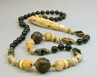 Vintage Chinese Carved Amber Bead Knotted Necklace Shou Symbol,Vintage Tiger Coral,Vintage Carved Bone,Black Onyx,Vintage Hawkseye Beads