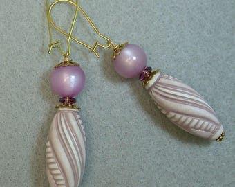 Vintage Moonglow Purple Dangle Bead Earrings, Vintage Italian Lucite White Violet Long Oval Beads,Vintage German Purple Glass,Gold Ear Wires