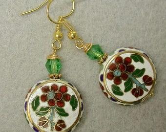 Vintage Chinese WHITE Cloisonne RARE Lentil Shape Bead Earrings Dangle Drop Red Green Flower Bead Earrings,Vintage Green Austrian Crystal